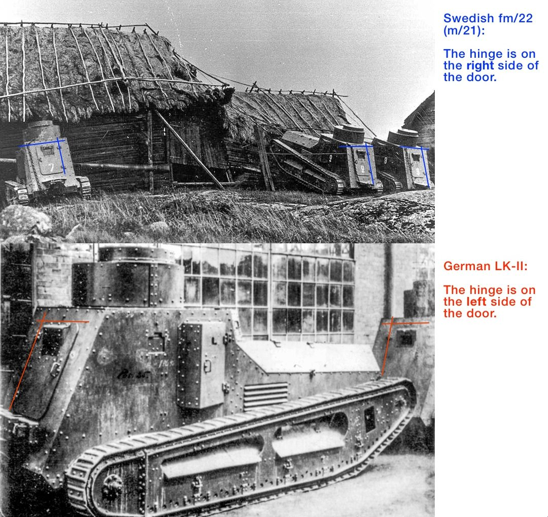 Comparison of back side between German LK-II and Swedish fm/22 (m/21).