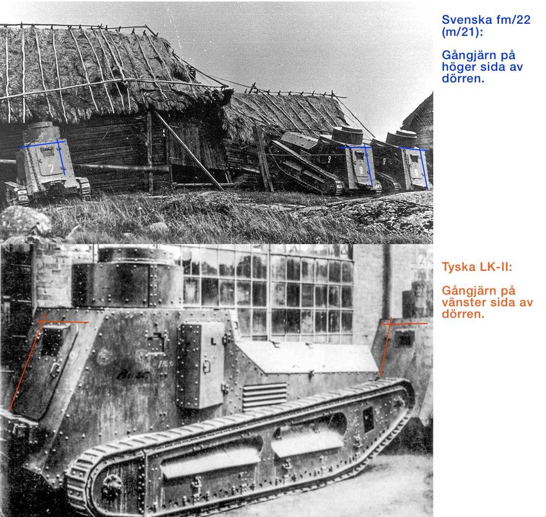 Jämförelse baksida av tyska LK-II och svenska strv fm/22 (m/21)