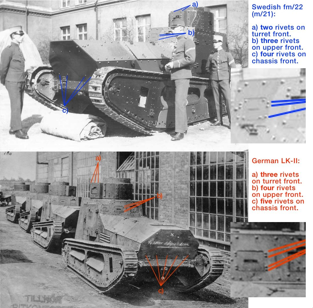 Comparison of front side between German LK-II and Swedish fm/22 (m/21).