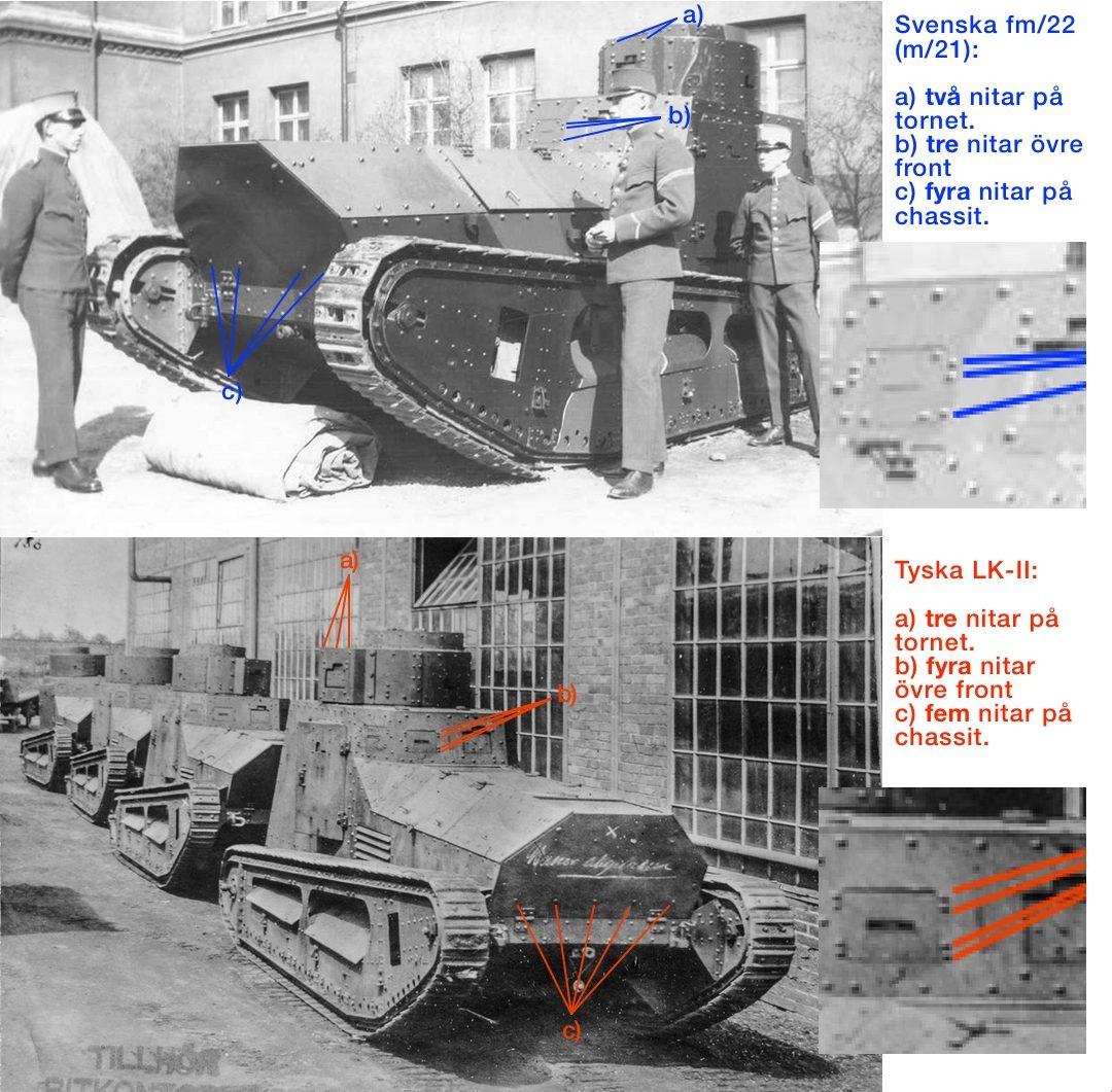 Jämförelse framsida av tyska LK-II och svenska strv fm/22 (m/21)