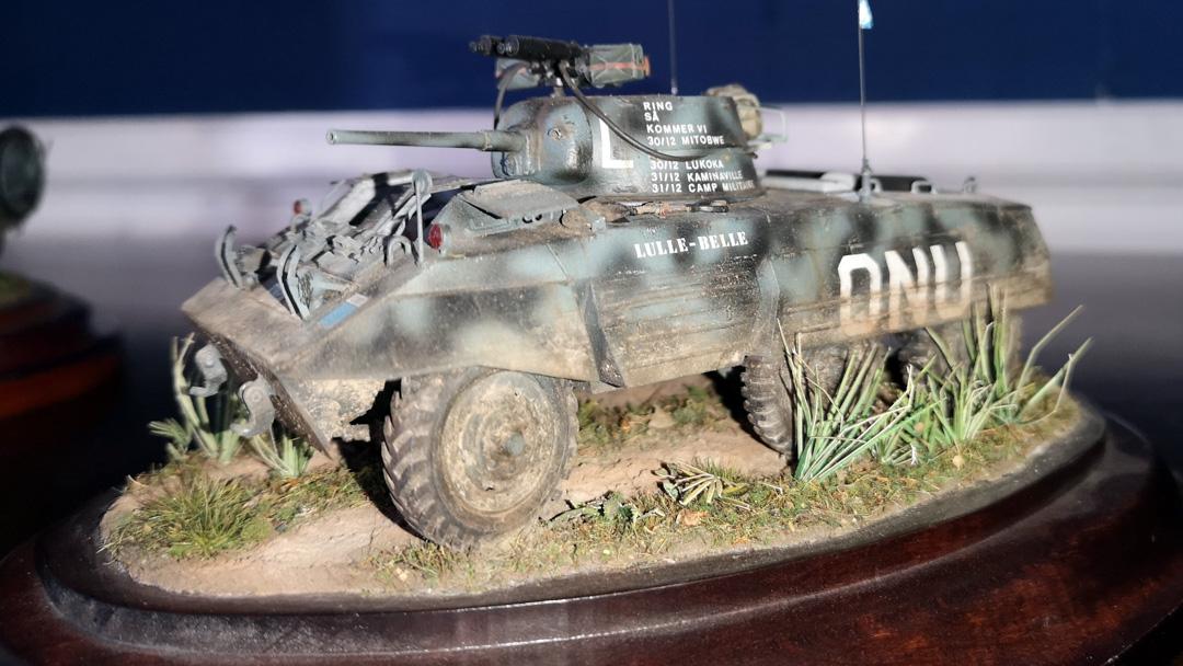 M8 Greyhound i svensk FN-tjänst, modell byggd av Sven Young