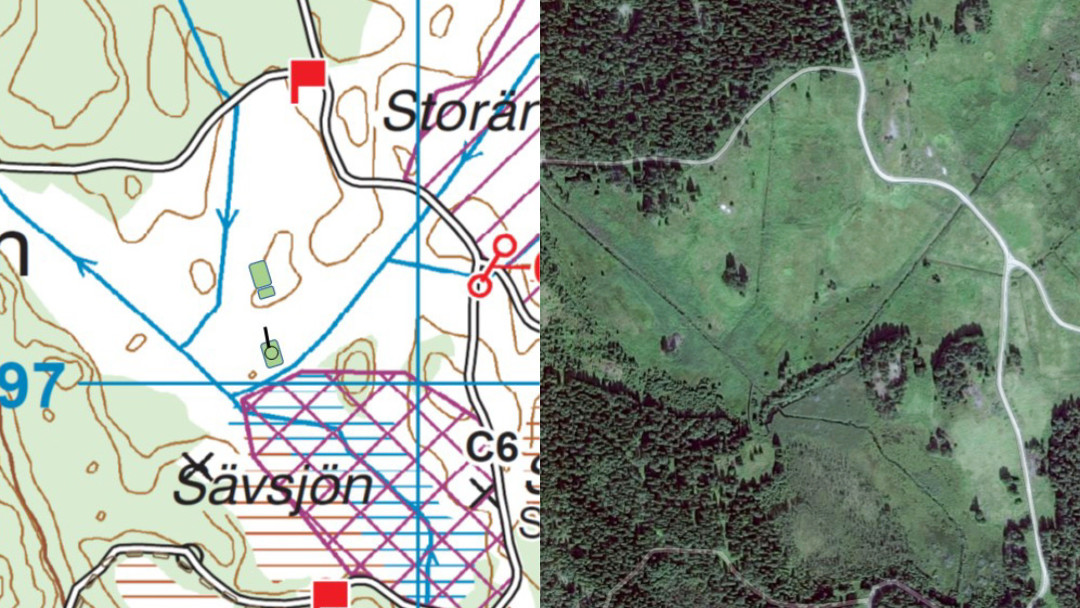 Stridsvagnsbärgningen i Storäng, karta och satellitbild