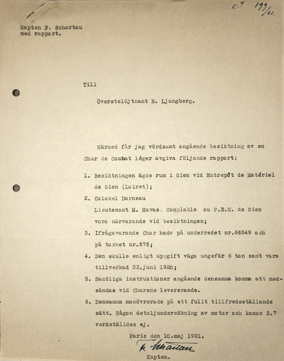2) Militärattachén i Paris. E I a. Inkommande handl. Volym 1. 1920 – 1922.