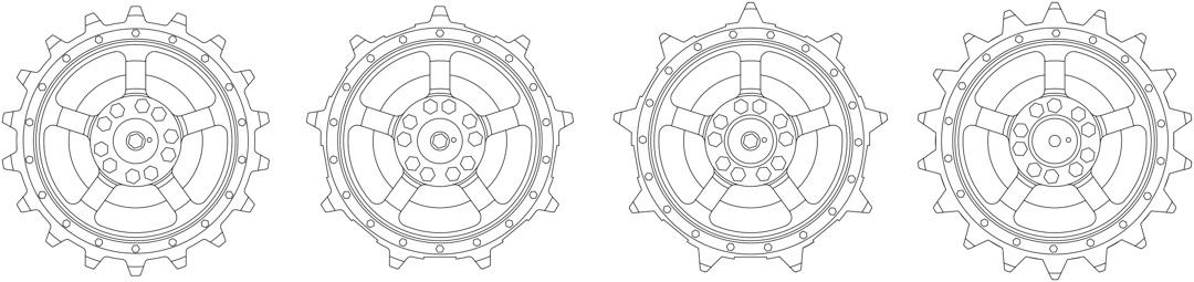 Olika varianter av drivhjul på Kungstiger