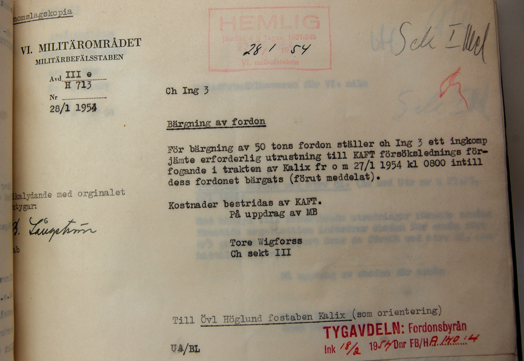 Dokument från Krigsarkivet om Centurion-bärgningen utanför Kalix.